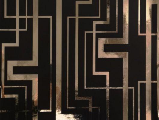 Обои виниловые на флизелиновой основе Fardis GEO TRACKS, для гостиной, с геометрическим рисунком золотого цвета, на черном фоне, купить в Москве, доставка обоев на дом, оплата обоев онлайн, большой ассортимент, интернет-магазин обоев, GEO, Обои для гостиной, Обои для кабинета
