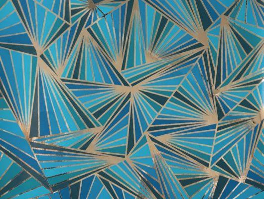 Смелые геометрические обои в гостинную с четкими серебристыми линиями на бирюзово-синем фоне. Обои для детской, DECO, Обои для гостиной