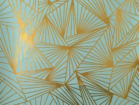 Смелые геометрические обои в гостинную с четкими золотистыми линиями на насыщенном бирюзовом фоне., DECO, Обои для гостиной