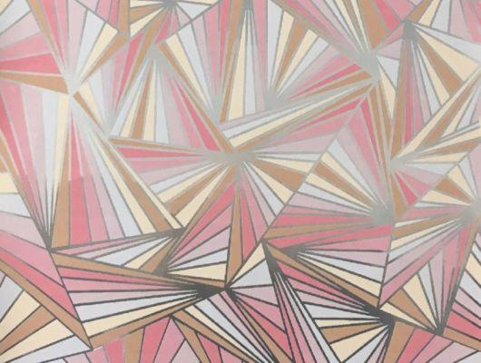 Смелые геометрические обои в гостинную с четкими серебристыми линиями на бежево-розовом фоне. Обои для детской, DECO, Обои для гостиной, Хиты продаж