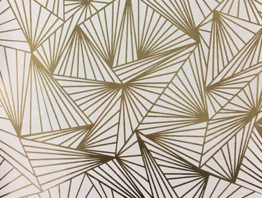 Смелые геометрические обои для спальни с четкими золотистыми линиями на белом фоне. Обои в гостинную, DECO, Обои для гостиной, Обои для спальни