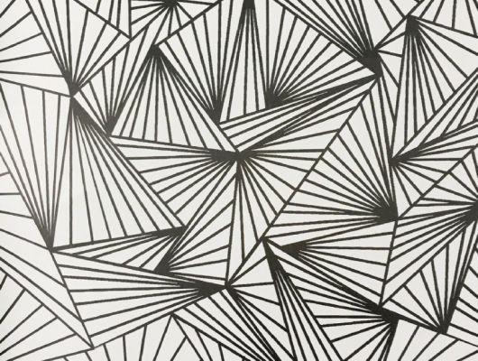Смелые геометрические обои в гостинную с четкими черными линиями на белом фоне. Обои для спальни, DECO, Обои для гостиной, Обои для спальни