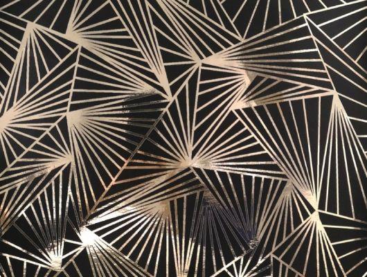 Смелые геометрические обои в гостинную с четкими золотистыми линиями на черном фоне. Обои для спальни, DECO, Обои для гостиной, Обои для спальни