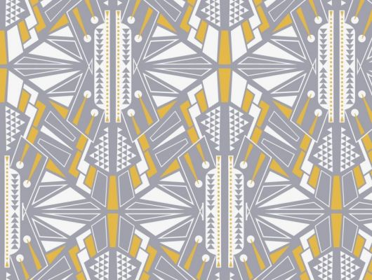 Обои для коридора с симметричным геометрическим принтом, выполнен серо-желтых цветах на белом фоне. Обои для детской, DECO, Обои для гостиной
