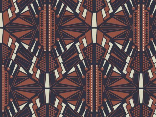 Обои для гостинной с симметричным геометрическим принтом, выполнен роскошном синем цвете с оранжевым., DECO, Обои для гостиной, Обои для кабинета