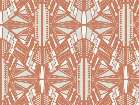 Обои для гостинной с симметричным геометрическим принтом, выполнен насыщенном оранжевом цвете. Обои для коридора, DECO, Обои для гостиной