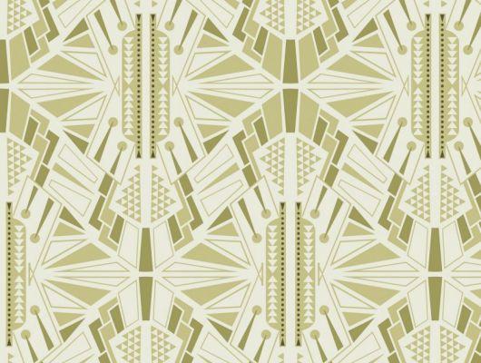 Обои для гостинной с симметричным геометрическим принтом, выполнен в бледно зеленом цвете. Обои для коридора, DECO, Обои для гостиной