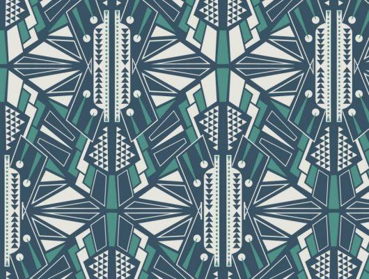 Обои для гостинной с симметричным геометрическим принтом, выполнен в бирюзово синих тонах. Обои для коридора, DECO, Обои для гостиной