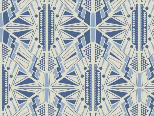 Обои для гостинной с симметричным геометрическим принтом, выполнен в голубых и белых цветах. Обои для спальни, DECO, Обои для гостиной, Обои для спальни
