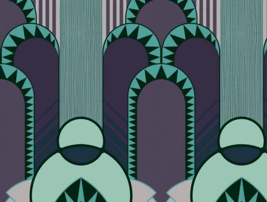Эффектные обои в спальню с крупным геометрическим рисунком, в бирюзовый оттенках с добавлением фиолетового цвета, DECO, Обои для гостиной, Обои для спальни