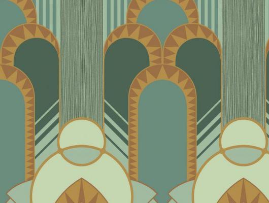 Эффектные обои в спальню с крупным геометрическим рисунком, в зеленых оттенках с добавлением горчичного цвета. Обои для гостинной, DECO, Обои для гостиной, Обои для спальни