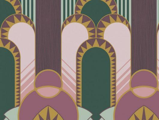 Эффектные обои в гостинную с крупным геометрическим рисунком, в зелено-розовых цветах. Обои для прихожей, обои для спальни., DECO, Новинки, Обои для гостиной, Обои для спальни, Хиты продаж