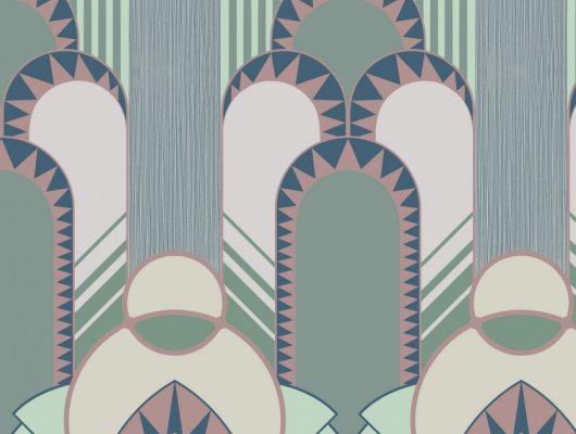 Эффектные обои в спальню с крупным геометрическим рисунком, в зеленовато-розовых оттенках. Обои в детскую, DECO, Обои для спальни
