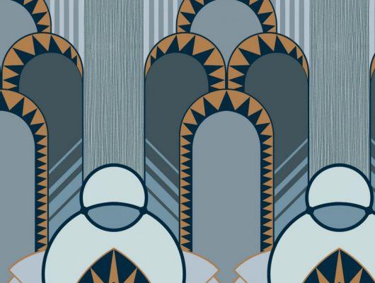 Эффектные обои в спальню с крупным геометрическим рисунком, в голубых цветах с оранжевым., DECO, Обои для гостиной, Обои для спальни