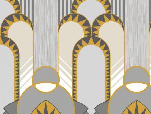 Эффектные обои в гостинную с крупным геометрическим рисунком, выполнены в серых и желтых оттенках. Обои для спальни, DECO, Обои для гостиной, Обои для спальни