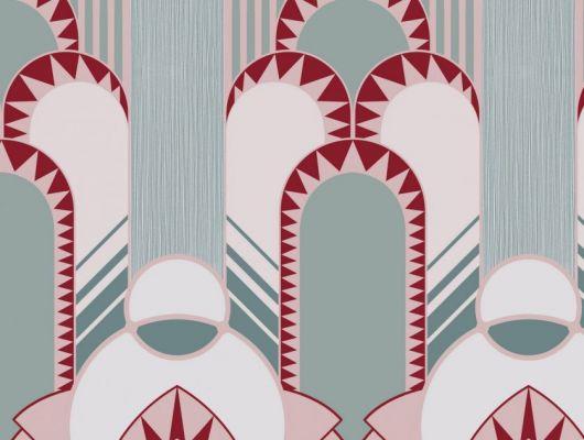 Эффектные обои в спальню с крупным геометрическим рисунком, в бирюзово-розовых цветах, DECO, Обои для спальни