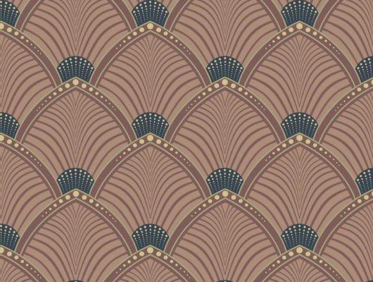 Обои для гостинной с веерообразным бордовым  орнаментом в виде на персиковом фоне., DECO, Обои для гостиной
