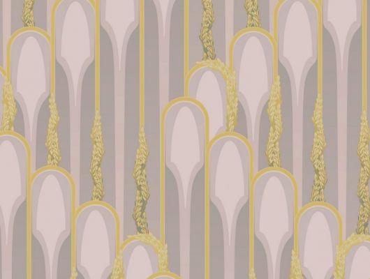 Обои в интерьере с растительным принтом в виде изящных арок., DECO, Обои для гостиной, Обои для спальни