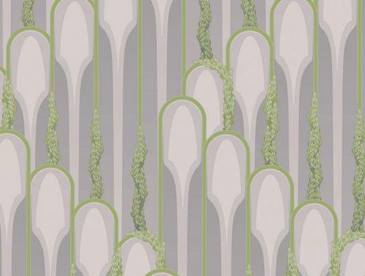 Обои в гостинную с растительным принтом в виде изящных зеленых арок на сиреневом фоне., DECO, Обои для гостиной, Обои для спальни