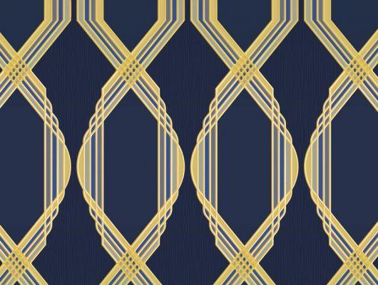 Обои для гостинной с крупным геометрическим орнаментом, состоит из серо-синих линий, на глубоком синем фоне. Обои в кабинет, DECO, Обои для гостиной, Обои для кабинета