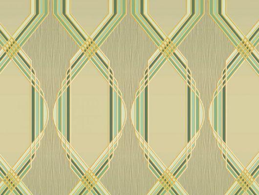 Обои для гостинной с крупным геометрическим орнаментом, состоит из зеленых линий, на бледно-зеленом фоне. Обои в кабинет, DECO, Обои для гостиной, Обои для кабинета