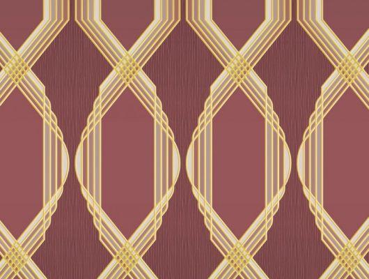 Обои для коридора с крупным геометрическим орнаментом, состоит из сиреневых линий, на бордовом фоне. Обои в кабинет, DECO, Обои для гостиной