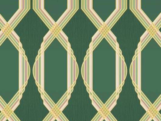 Обои для гостинной с крупным геометрическим орнаментом, состоит из розово-зеленых линий, на зеленом фоне. Обои в кабинет, DECO, Обои для гостиной, Обои для кабинета