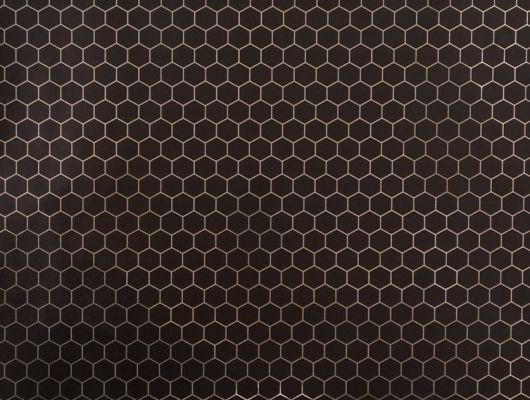 Обои в гостинную с золотистым геометрическим принтом на роскошном черном фоне. Обои для кабинета., DECO, Обои для гостиной, Обои для кабинета