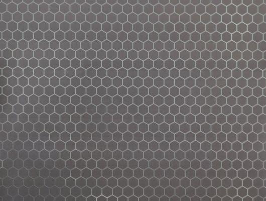 Обои в спальню с серебристым геометрическим принтом на роскошном серо-коричневом фоне., DECO, Обои для гостиной, Обои для кабинета