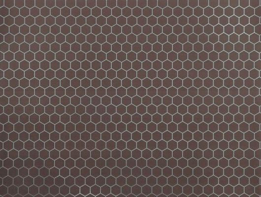 Обои в гостинную с серебристым геометрическим принтом на роскошном коричневом фоне. Обои в прихожую., DECO, Обои для гостиной, Обои для кабинета