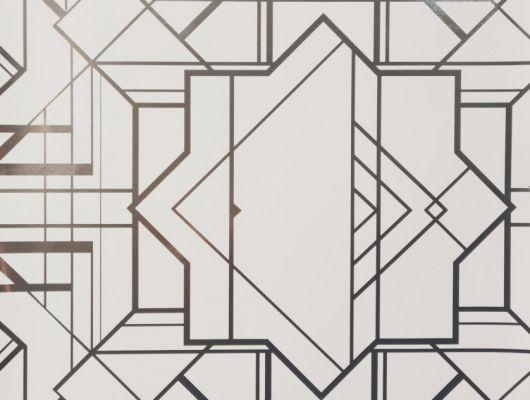 Обои в спальню с геометрическим принтом на светло-сером фоне с серебристыми линиями., DECO, Обои для гостиной, Обои для кабинета
