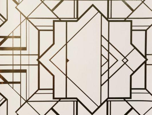 Обои в спальню с геометрическим принтом на молочном фоне с золотыми линиями., DECO, Обои для гостиной, Обои для спальни