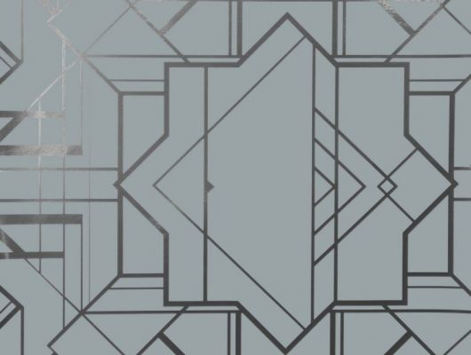 Обои в прихожую с крупным геометрическим принтом на сером фоне с серебрянными линиями., DECO, Обои для гостиной
