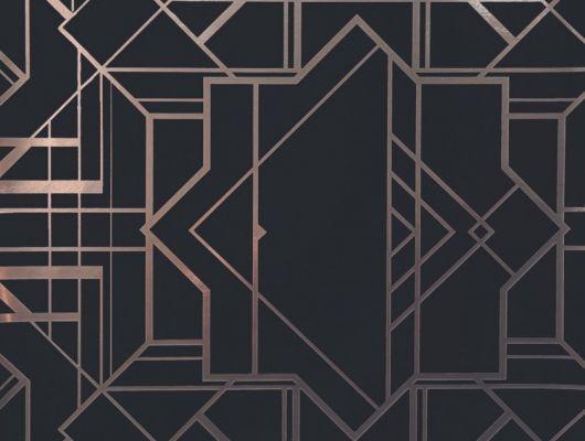 Обои в гостинную с геометрическим принтом на черном фоне с бронзовыми линиями., DECO, Обои для гостиной, Обои для спальни