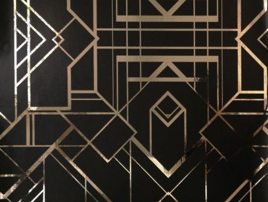 Обои в гостинную с геометрическим принтом на черном фоне с золотыми линиями., DECO, Обои для гостиной, Обои для кабинета, Обои для спальни