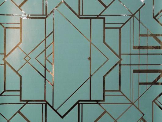 Обои в гостинную с геометрическим принтом на бирюзовом фоне с золотыми линиями. Обои в санузел, DECO, Новинки, Обои для гостиной, Обои для спальни
