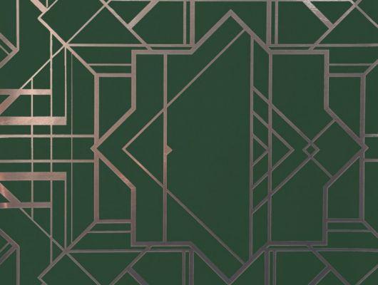 Обои в гостинную с геометрическим принтом на зеленом фоне., DECO, Обои для гостиной, Обои для кабинета
