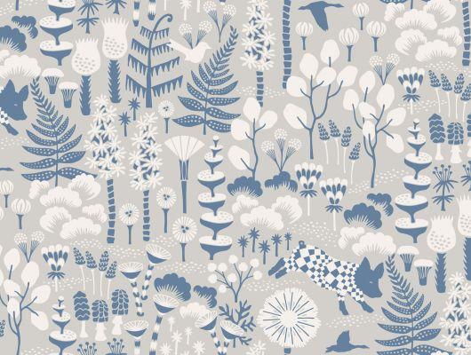 Стильные шведские обои от Hanna Werning с радостной свинкой бегающей по лесу Надежды, Wonderland, Детские обои, Моющиеся обои, Обои для квартиры