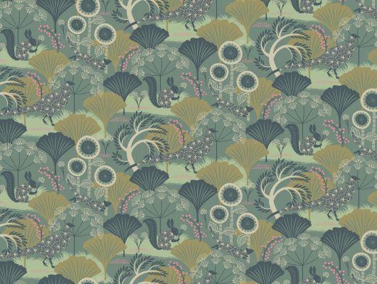 Волшебный лес на обоях зеленого цвета от Ханны Вернинг заказать онлайн, Wonderland, Детские обои, Дизайнерские обои, Обои для квартиры