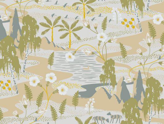 Светлые шведские обои с изображением смешанных биомов, помесь Сахарской пустыни и шведского леса, где стройная береза растет в тени раскидистой пальмы., Wonderland, Детские обои, Дизайнерские обои, Обои для квартиры