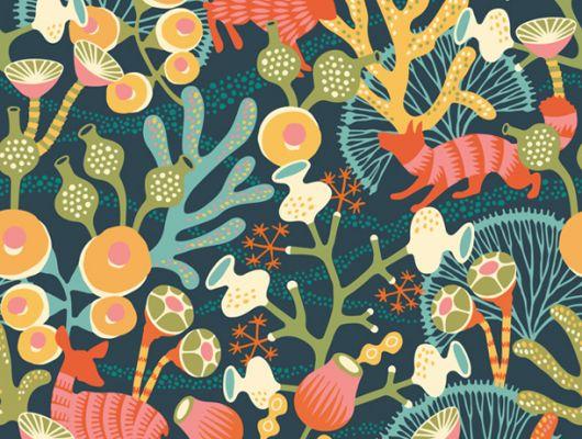 Фотопанно с прекрасным видом на невероятный лес из кораллов с дикой фауной из ярких оленей зайцев и хорьков, Wonderland, Детские фотообои, Обои для квартиры, Фотообои, Хиты продаж