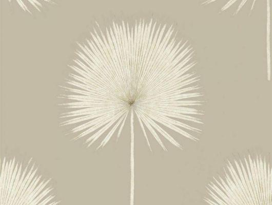 Флизелиновые обои для гостиной арт.216637 Fan Palm из коллекции The Glasshouse от Sanderson с тропическим рисунком в спокойных тонах на бежевом фоне можно выбрать на сайте odesign.ru, The Glasshouse, Обои для гостиной, Обои для спальни