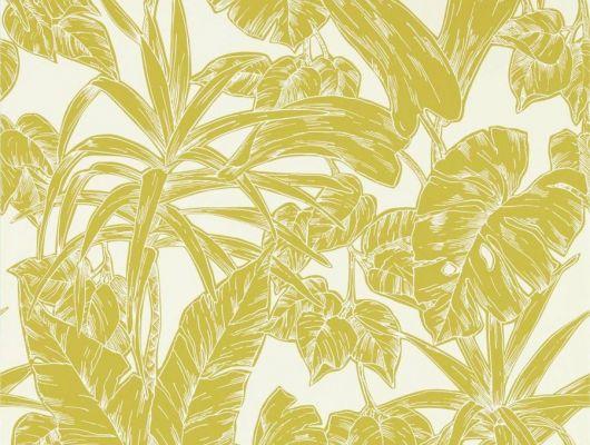 Заказать английские обои в спальню арт. 112022 дизайн Parlour Palm из коллекции Zanzibar от Scion, Великобритания с принтом в виде пальмовых листьев в лимонно-горчичном цвете на белом фоне в салоне обоев в Москве с бесплатной доставкой, большой ассортимент, Zanzibar, Обои для гостиной, Обои для спальни