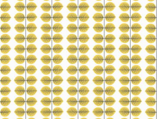 Желтые листья на белом фоне, в качестве рисунка на обоях, Scandinavian Designers II, Обои для квартиры, Обои с рисунком