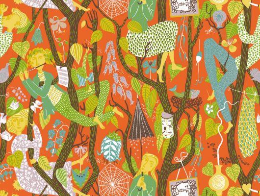 Волшебные обои в коридор с лилипутами поющими на деревьях., Scandinavian Designers II, Детские обои, Дизайнерские обои, Новинки, Обои для квартиры, Обои для прихожей