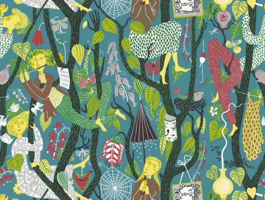 Сине-зеленые обои из флизелина с изображением карликов сидящих на ветвях и поющих песню леса, Scandinavian Designers II, Детские обои, Обои для квартиры, Флизелиновые обои