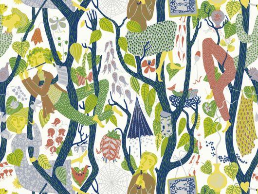 Волшебные обои с изображением поющих эльфов на ветвях бесконечного леса от скандинавского дизайнера Стига Линдберга, Scandinavian Designers II, Детские обои, Дизайнерские обои, Обои для квартиры