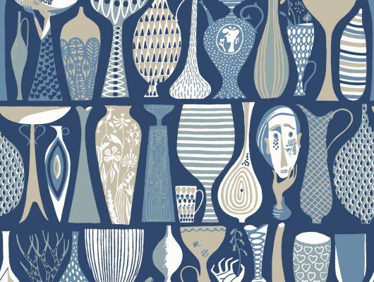 Синие обои с вазами и горшками заказать, Scandinavian Designers II, Дизайнерские обои, Обои для квартиры