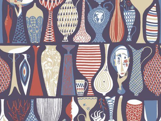 Комнатные обои с разноцветными вазами, чашами и горшками от известного скандинавского дизайнера Стига Линдберга, Scandinavian Designers II, Обои для комнаты