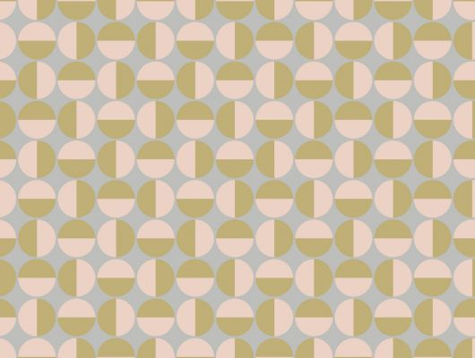Обои от датского дизайнера Арне Якобсена с геометрическим круговым рисунком розового цвета с золотыми полукружиями, Scandinavian Designers II, Дизайнерские обои
